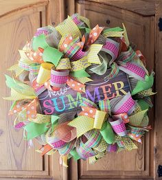 Summer Deco Mesh Wreath, Summer Mesh Wreath, Summer Welcome Wreath, Summer Door Wreath, Hello Summer Wreath Boxes, Diy Wreath, Wreath Ideas, Wreath Crafts, Burlap Wreath, Summer Door Wreaths, Spring Wreaths, Holiday Wreaths, Easter Wreaths