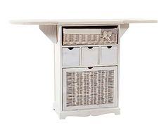 Mueble de plancha en madera DM y mimbre