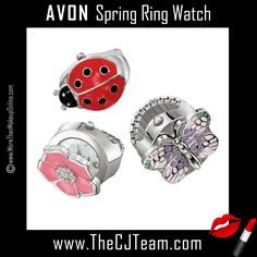 Spring Ring Watch. Avon. An adorable, springtime ring that opens to reveal a watch! A silvertone spring themed ring watch. The ring top opens to reveal a watch. Offered in your choice of ladybug, flower, or butterfly. Regularly $19.99.  NEW & NOW! FREE shipping with any $40 online Avon purchase.  #CJTeam #Avon #Style #Sale #Jewelry #Fashion #Watch #RingWatch #Ring #Flower #LadyBug #Butterfuly #Avon4me #C11 #Gift Shop Avon jewelry online @ www.TheCJTeam.com