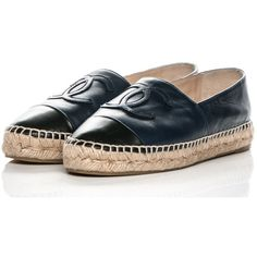 CHANEL Lambskin CC Espadrilles 37 Dark Navy ❤ liked on Polyvore featuring shoes, sandals, flat pumps, flat heel sandals, flat heel shoes, espadrille shoes and flat shoes