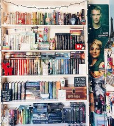 Total shelf envy!!!! <<< ahhh the decorated it with lights and a divergent posterrrr (idk from which movie it is)
