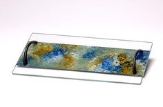 Ocean Breeze Serving Tray by Amalia Flaisher | Sand & Water Creations in Glass at aRT on Glass Studio