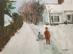 Sled Ride -Children in the snow, painting by artist Kay Crain  9x12 oil on canvas panel