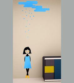 wall sticker snow girl autocolant decorativ pentru perete fetita ninsa www.caiverzipepereti.com