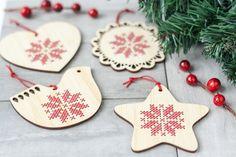 DIY Kit // Set of 4 Cross Stitch Ornaments // Scandinavian Inspired Holiday // DIY Christmas Ornaments by RedGateStitchery on Etsy https://www.etsy.com/ca/listing/258858853/diy-kit-set-of-4-cross-stitch-ornaments