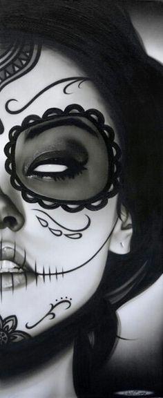 Half sugar skull | Sophia La Muerta by Daniel Esparza