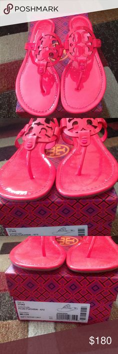Tory Burch Miller Sandal EUC. Worn once for few hours. Neon Fuschia. TB can run small so this will fit US10. Dustbags included. May include box if I can find Large enough box to fit. PRICE FIRM Tory Burch Shoes Sandals
