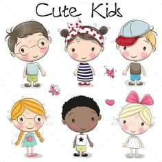 Illustration about Set of Cute cartoon girls and boys on a white background. Illustration of drawn, glasses, happy - 97961188 Cartoon Cartoon, Cute Cartoon Boy, Cartoon Drawings, Easy Drawings, Boy And Girl Cartoon, Cartoon Characters, Cute Kids Fashion, Cute Outfits For Kids, Drawing For Kids