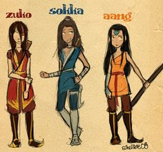 Genderbent Zuko, Sokka, and Aang they could have kept it Sokka lol