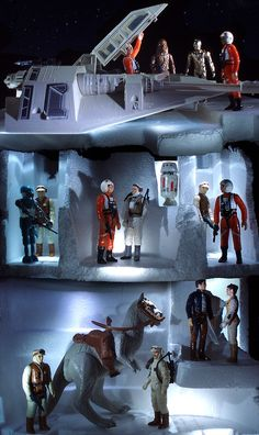 "Diorama of the rebel base on the ice moon of Hoth, with snowspeeder, tauntaun, and numerous action figures, from the ""Star Wars: The Empire Strikes Back"" toys Star Trek, Star Wars Art, Star Wars Action Figures, Custom Action Figures, Sith, Gi Joe, Starwars, Figuras Star Wars, Star Wars Birthday"