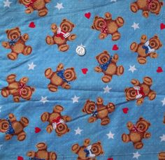 """Blue Teddy Bear Fabric w Stars and Hearts, 1.5 yds by 44"""" wide + bonus piece! #freeshipping Make an offer!"""