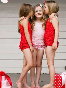 Oh!  The sweetest little sets for little girls!  Fantastic gift, and they look so cute on!