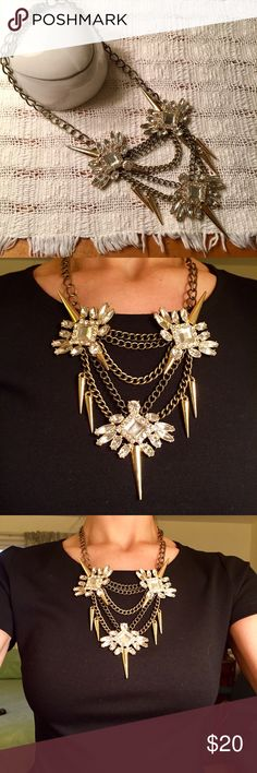 Gold spike statement necklace Beautiful spike and rhinestone statement necklace on gold chains. Purchased at Nordstrom, by Bauble Bar. EUC. Baublebar Jewelry Necklaces