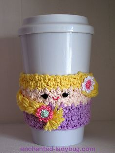 Rapunzel Coffee Cup Cozy pattern by The Enchanted Ladybug
