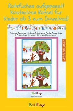 Die knifflige Beschäftigung für kleine Ratefüchse! BatiLoo hat 12 tolle Rätsel zum Gratis-Download für Kinder ab 3 Jahren! #mamablog #raetselfuerkinder #raetselkleinkinder Gratis Download, Tricks, Cover, Books, Kids Discipline, Game Ideas, Cook, Kid Games, Libros