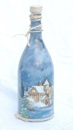 Botella decorada Wine Bottle Glasses, Old Wine Bottles, Wine Bottle Corks, Painted Wine Bottles, Lighted Wine Bottles, Diy Bottle, Recycled Bottles, Wine Bottle Crafts, Glass Bottles