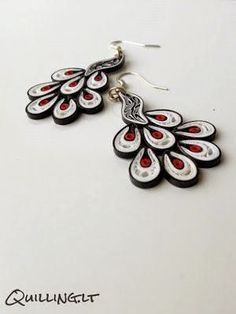 A collection of paper quilled peacock earrings and other jewelry from quilling artists around the globe! Paper Quilling Earrings, Paper Quilling Flowers, Paper Quilling Designs, Quilling Paper Craft, Quilling Craft, Quilling Patterns, Paper Jewelry, Paper Beads, Jewelry Crafts