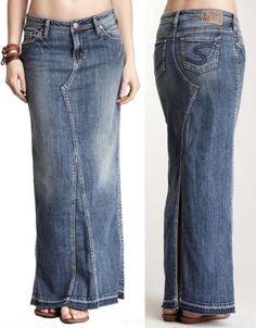 jeans to jean skirt diy Vively Online: Refashion Jeans to Skirt Denim Maxi, Denim Outfit, Denim Skirt, Mode Jeans, Jeans Rock, Jean Skirt, Blouse Styles, Denim Fashion, Jeans Sale