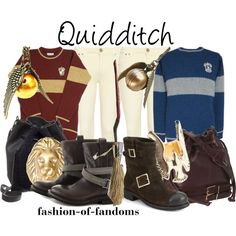 """Quidditch"" by fofandoms on Polyvore. Gryffindor and Ravenclaw outfits: I have the Gryffindor snitch!"