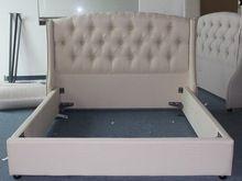 Tela del diseño moderno cama de estilo europeo con listones de madera marco(China (Mainland))