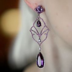 """Present your spouse simply how much you cherish her by unexpected them with expensive jewelry. Each lady """"Semiramis"""" Amethyst Drop Earrings - Plukka - Shop Fine Jewelry Online Purple Jewelry, Amethyst Jewelry, Silver Jewelry, Leather Jewelry, Boho Jewelry, Gemstone Jewelry, Beaded Jewelry, Jewlery, Cheap Fashion Jewelry"""