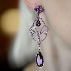 """""""Semiramis"""" Amethyst Drop Earrings - Plukka - Shop Fine Jewelry Online"""