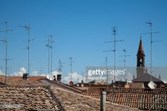Stock Photo : TV antennas and satellite dish on rooftops, Comacchio, Ferrara, Italy