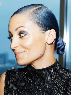 If this hairstyle on Nicole Richie had a Pinterest inspiration board, the photos would totally include: a snake, a hot water pipe wrapped in rope at a hipster restaurant and a cruller from Dunkin' Donuts.