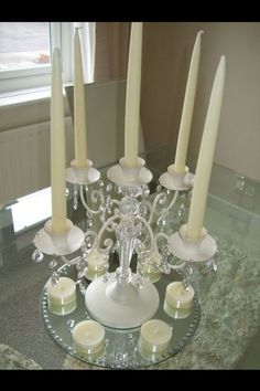 9 Ivory Vintage Style Candelabras / Wedding Table Centres