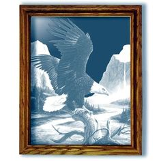 Freedom Eagle Art Etched Large Rectangular Mirror