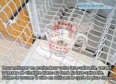 Place a dishwasher-safe cup filled with plain white vinegar on the top rack of the dishwasher. Using the hottest water available, run the dishwasher through a cycle – The vinegar will help wash away loose, greasy grime, sanitizes, and removes musty odor.