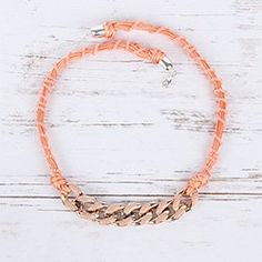 Learn how to make the Peach Perfect Necklace using peach braiding cord, apricot KO thread and pretty peach enamelled chain links! Jewelry Making, Peach, Chain, Bracelets, How To Make, Gold, Ideas, Necklaces, Jewellery Making