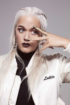 Nail accessories: lottie tomlinson boxer braid silver hair jacket customized jacket customized white