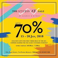 The much awaited @studioav_by_gauravnnitesh  annual sale 2018 starts from Monday 15th January! #studioavbygauravnnitesh #sale #collection #fashion #designerwear #monday #droptoshop #rush #annual #surprise #hamper #luckycustomer #upto70% #discount