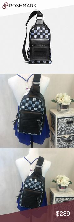 """Coach unisex crossbody blue checkered backpack nwt COACH STYLE #F11165 COLOR BLACK ANTIQUE NICKEL/DUSK MULTI CHECKER Details Canvas and refined calf leather Inside tech sleeve with secure tab Zip closure, fabric lining Outside zip pocket Adjustable strap with 36 1/2"""" drop for crossbody wear 8 1/4"""" (L) x 17 3/4"""" (H) x 6"""" (W)  SOLD OUT EVERY WHERE ! 😬😬 Coach Bags Backpacks"""