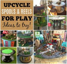 Repurpose wooden spools and cable reels for play. Fun ways to repurpose spools and reels for early learning Create budget friendly & playful indoor/outdoor resources by upcycling and repurposing wooden spools and cable reels. Ideas to inspire you here! Wire Spool Tables, Cable Spool Tables, Wooden Cable Spools, Outdoor Activities For Kids, Outdoor Learning, Outdoor Play, Indoor Outdoor, Outdoor Living, Wire Reel