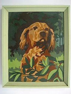 Vintage Paint By Number Dog Portrait. Vintage Dog, Vintage Wall Art, Paint By Number Vintage, Super Cute Dogs, Number Art, Sketch Paper, Dog Paintings, Dog Portraits, Dog Art
