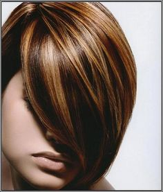 Dark brown lowlights and highlight hair color with side bangs for short hair