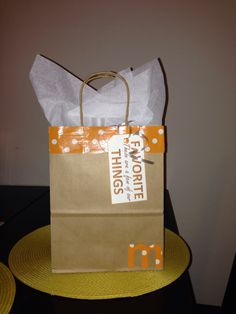 Homemade gift bag with patterned duct tape!