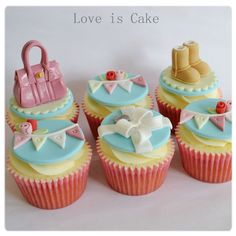 Good luck cupcakes made for a lady who loves mulberry handbags, shoes, Tiffany and co and bunting.