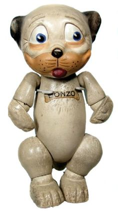 1930s Bonzo Composition Doll. Another Famous Cartoon Figure from Days Long Gone;  Bonzo Went on to Advertise Many Things.  He was even made into Salt & Pepper Shakers!