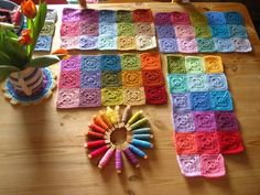 Beautiful colorful crochet squares from Attic24