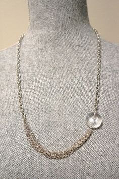 Large Crystal and Silver Chain Necklace  Made in by LinksLocks, $20.00