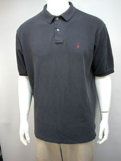 Ralph Lauren Polo Mens Shirt Black/Charcoal Sz XL 100 % Cotton Made In USA #PoloRalphLauren #PoloRugby
