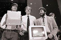 Steve Jobs, John Sculley and Steve Wozniak unveiling a new Apple II series computer. 1984