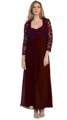 Long plus size mother of the bride / groom dresses in burgundy for 2013 - 2014 fashion trends