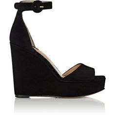 Paul Andrew Women's Adalet Suede Wedge Sandals ($509) ❤ liked on Polyvore featuring shoes, sandals, black, black ankle strap sandals, open toe sandals, black wedge shoes, wedge sandals and black platform sandals