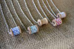 Vintage style wooden spool necklaces. Five color options.. $12.00, via Etsy.