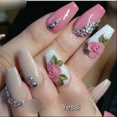 Uñas Glow Nails, Glitter Gel Nails, Long Acrylic Nails, Bling Nails, Perfect Nails, Gorgeous Nails, Colorful Nail Designs, Nail Art Designs, 3d Flower Nails