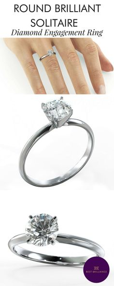Simple 3.02 Carat G VVS1 diamond is mounted in beautiful 18K White Gold with a 4 prong setting on a delicate shank. Explore affordable engagement rings and unique wedding bands at  https://bestbrilliance.com/popular-on-instagram/3-carat-solitaire-diamond-engagement-ring-18k-white-gold-j21879-html.html | Jewellery